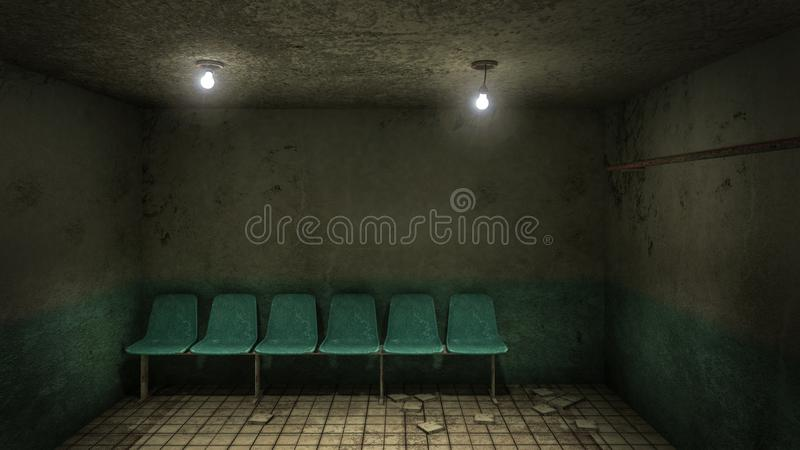 Horror and creepy seat waiting in front of the examination room in the hospital .3D rendering. Horror and creepy seat waiting in front of the examination room in vector illustration