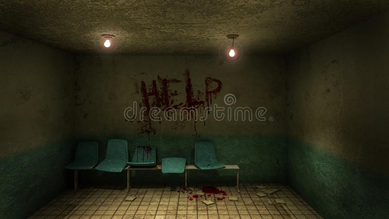 Horror and creepy seat waiting in front of the examination room in the hospital and help Blood .3D rendering. Horror and creepy seat waiting in front of the stock illustration