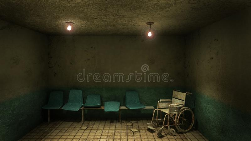 Horror and creepy seat waiting and wheelchair in front of the examination room in the hospital.3D rendering. Horror and creepy seat waiting and wheelchair in vector illustration