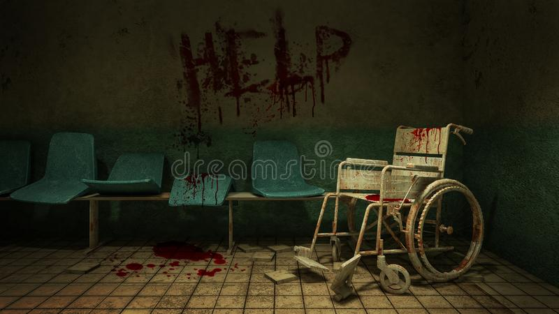 Horror and creepy seat waiting and wheelchair in front of the examination room in the hospital and help Blood .3D rendering. Horror and creepy seat waiting and vector illustration