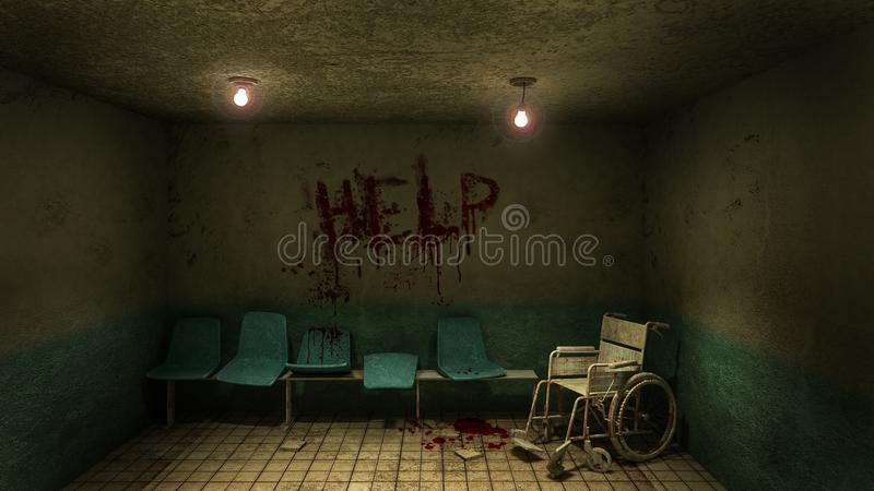 Horror and creepy seat waiting and wheelchair in front of the examination room in the hospital and help Blood .3D rendering. Horror and creepy seat waiting and stock illustration
