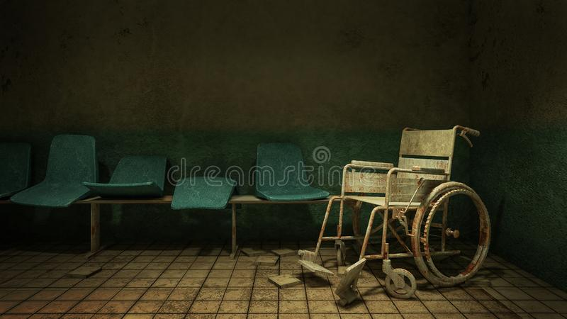Horror and creepy walk way and wheelchair in front of the examination room in the hospital.3D rendering. Horror and creepy walk way and wheelchair in front of royalty free illustration