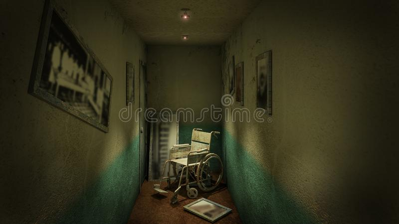 Horror and creepy walk way and wheelchair in front of the examination room in the hospital.3D rendering. Horror and creepy walk way and wheelchair in front of vector illustration