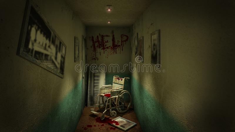 Horror and creepy walk way and wheelchair in front of the examination room in the hospital and help Blood .3D rendering. Horror and creepy walk way and stock illustration