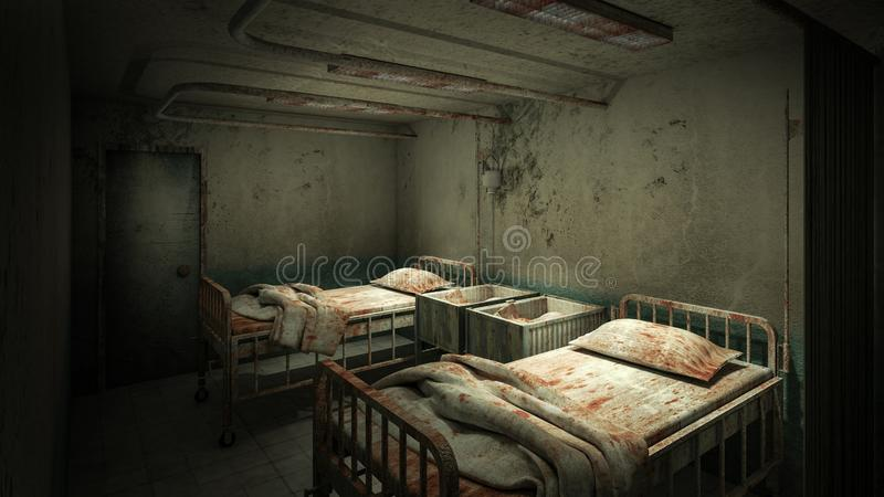 Horror and creepy ward room in the hospital .3D rendering. Horror and creepy ward room in the hospital 3D rendering stock illustration