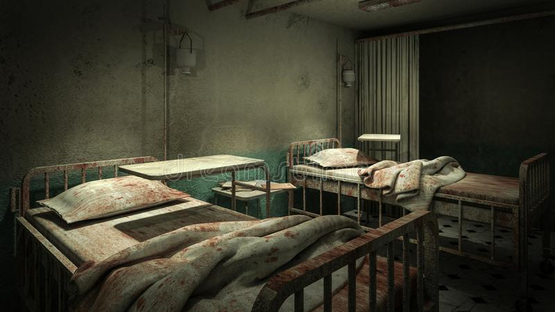 Horror and creepy ward room in the hospital .3D rendering. Horror and creepy ward room in the hospital 3D rendering royalty free illustration