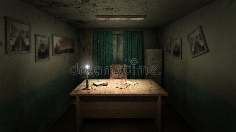 Horror and creepy working room in the hospital .3D rendering. Horror and creepy working room in the hospital 3D rendering royalty free illustration