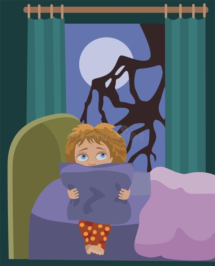 Horror da noite a criança ilustração royalty free