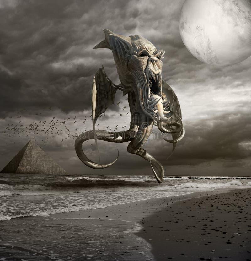 Horror del mar stock de ilustración