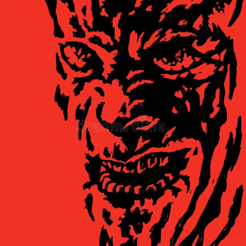 Horror face of the monster. Vector illustration. royalty free illustration