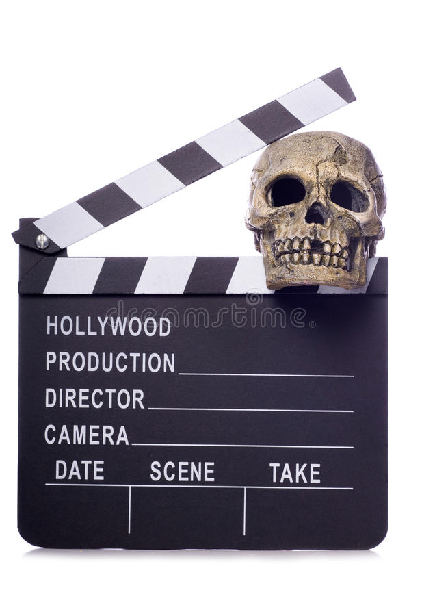 Horror film movie clapper board cutout. Horror film movie clapper board studio cutout stock photos