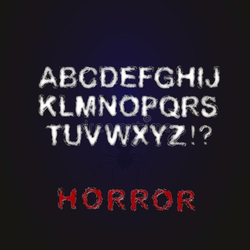 Horror font. Letters wrapped in a web. stock photos