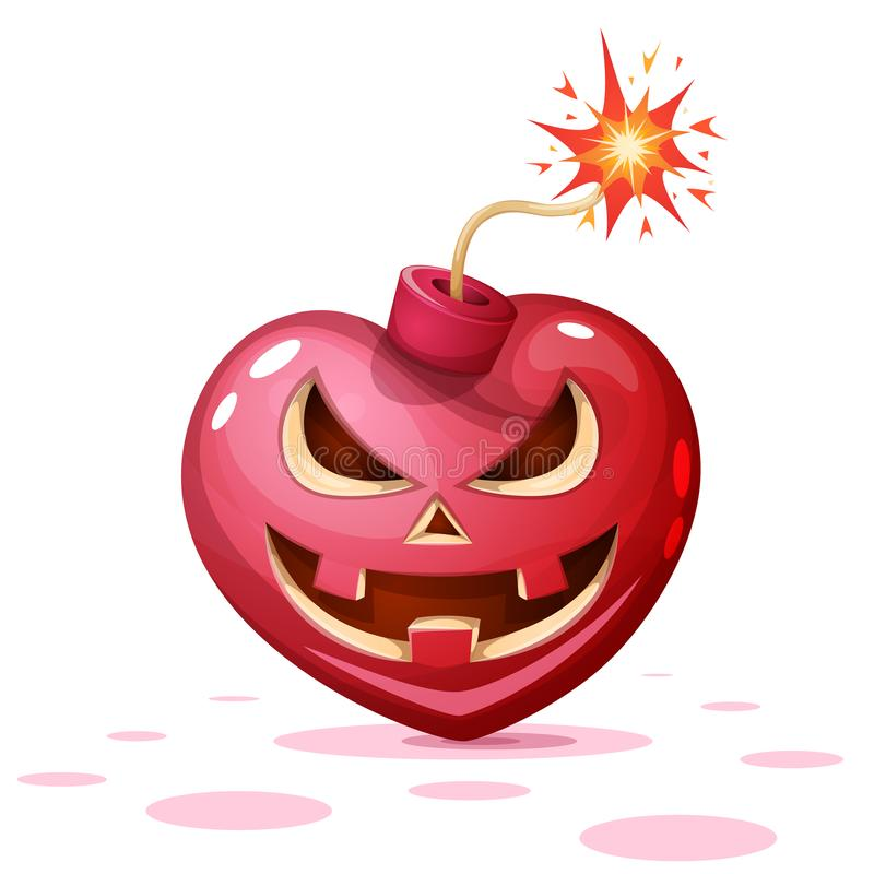 Horror, Furcht, Halloween-Illustration Herz, Kürbis, Bombenzeichentrickfilm-figuren vektor abbildung