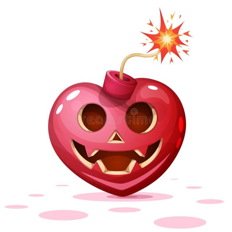 Horror, Furcht, Halloween-Illustration Herz, Kürbis, Bombenzeichentrickfilm-figuren lizenzfreie abbildung