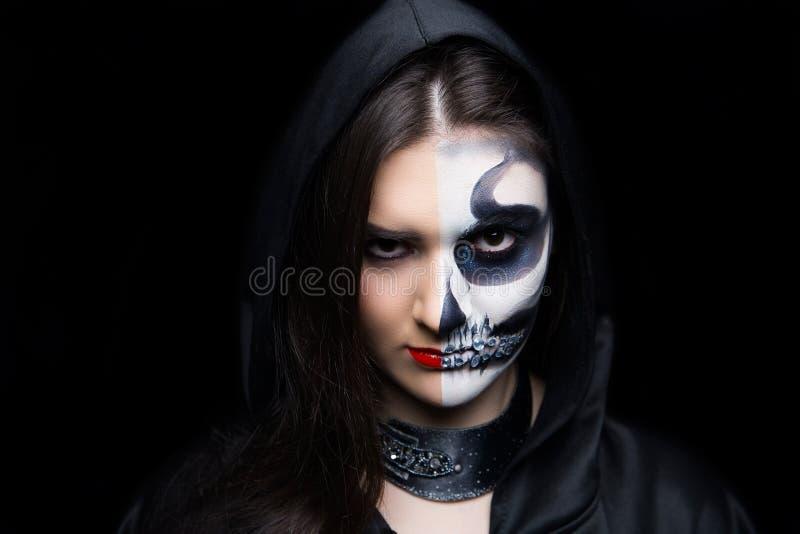 Horror Halloween night party make up skull royalty free stock photography