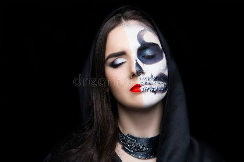 Horror Halloween night party make up skull royalty free stock photos