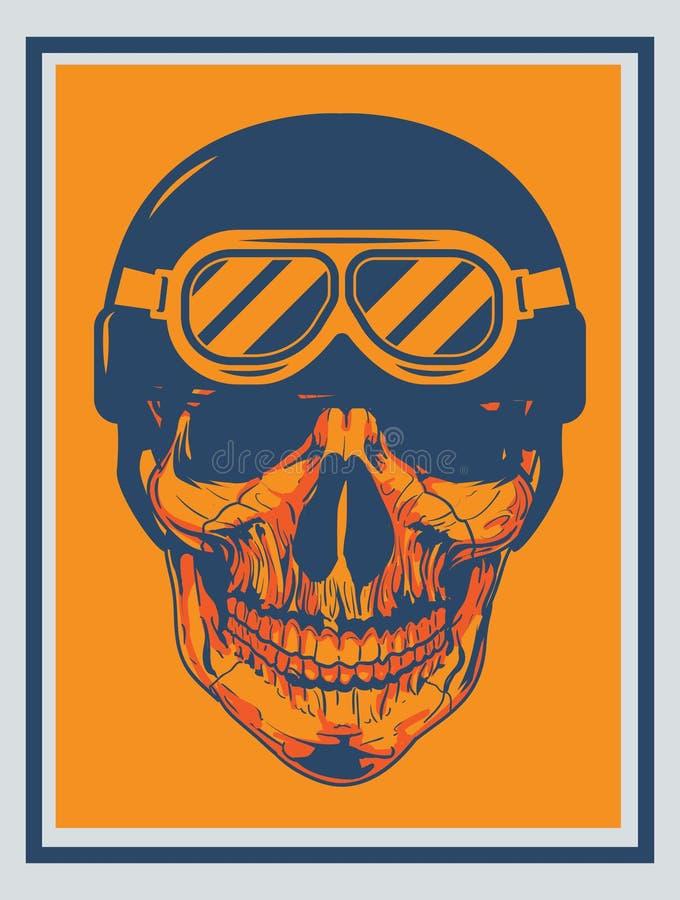 Horror head Skull with helmet in dark orange background royalty free stock photos