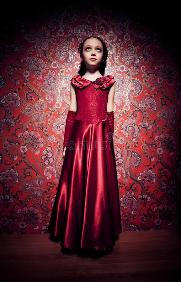 Horror image with young girl on glamour background royalty free stock photography