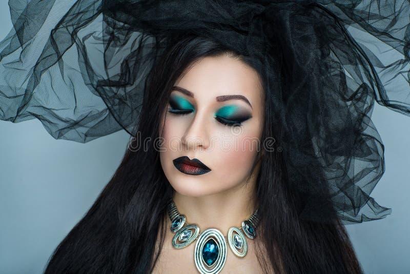 Horror kobiety czerni przesłona zdjęcie royalty free