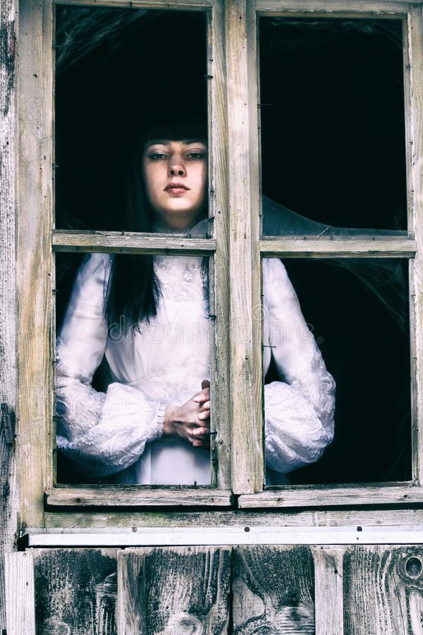 Horror Lady at the window stock photography