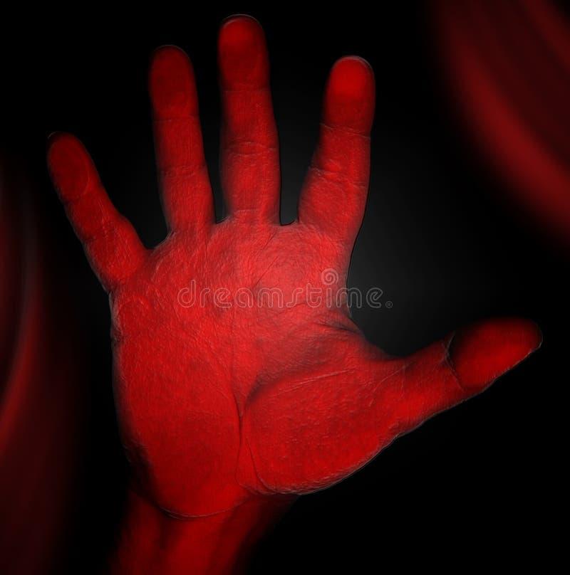 Horror - mano roja stock de ilustración