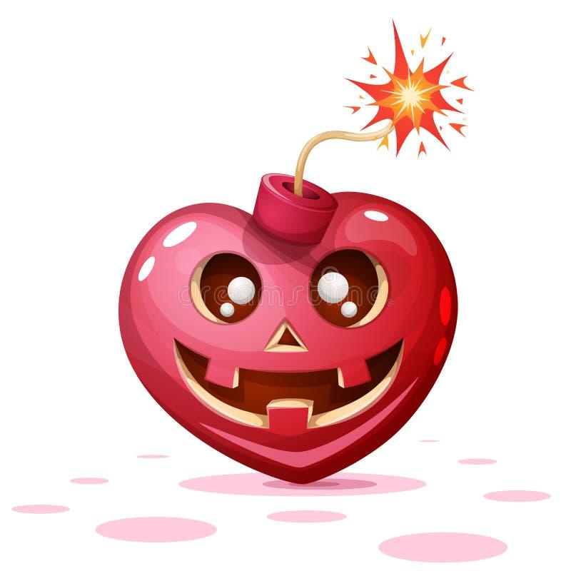Horror, medo, ilustração do Dia das Bruxas Coração, abóbora, personagens de banda desenhada da bomba ilustração do vetor