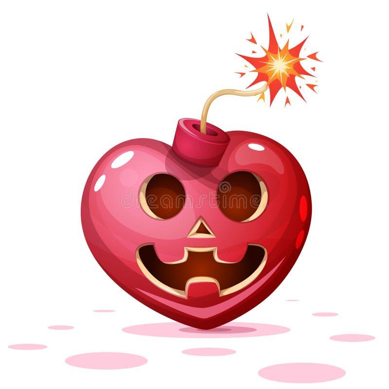 Horror, medo, ilustração do Dia das Bruxas Coração, abóbora, personagens de banda desenhada da bomba ilustração royalty free