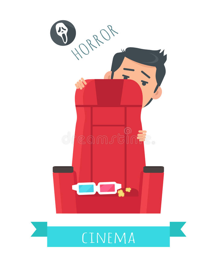 Horror Movie Flat Style Vector Concept stock illustration