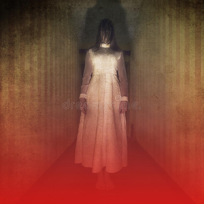 Horror movie scene with scary girl. Creepy background with a ghost girl dressed in white stock photos