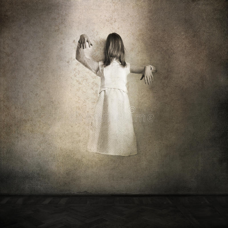 Horror movie scene with scary girl. Creepy background with a ghost girl dressed in white royalty free stock images