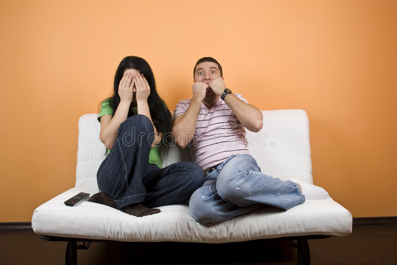 Download Horror Movie At TV Stock Photo - Image: 8028200