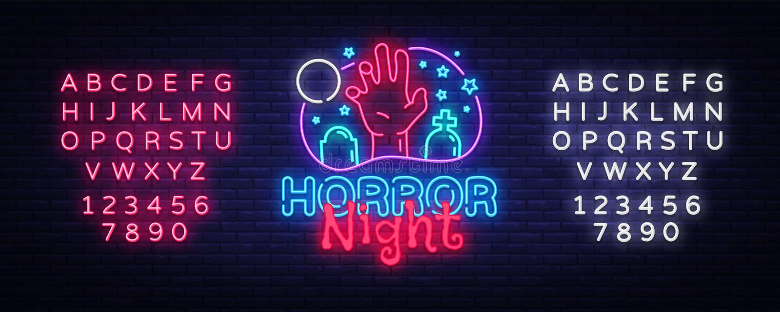 Horror Night neon sign vector. Halloween Poster Design template neon sign, Horror light banner, neon signboard, nightly. Bright advertising, light inscription stock illustration