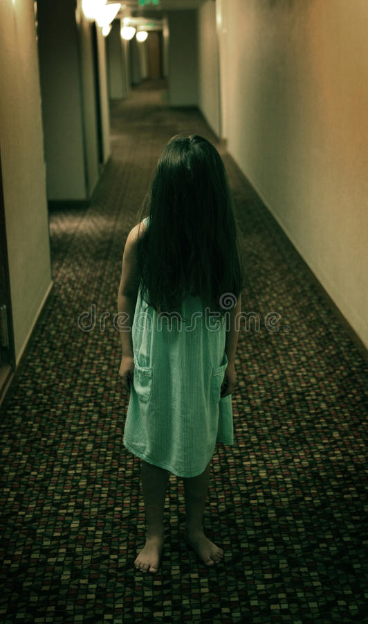 Horror scary little girl royalty free stock photo