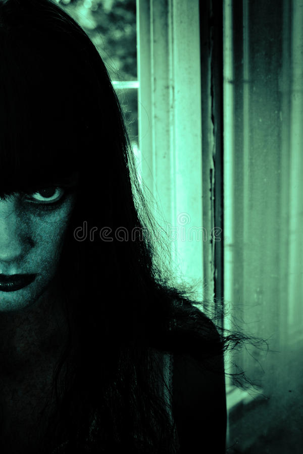 Horror scary woman. Horror Portrait of a Woman stock photo
