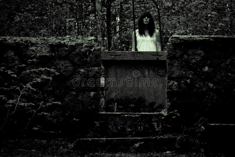 Horror scary woman. Horror scene of a scary woman royalty free stock image