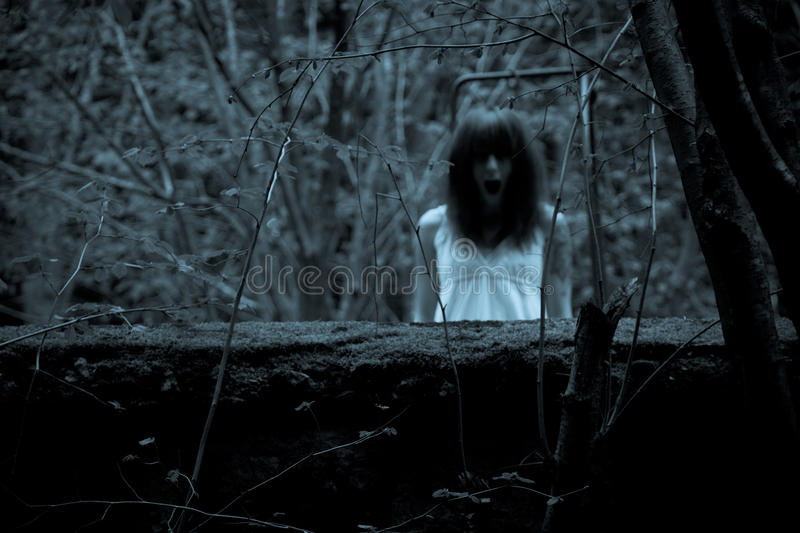 Horror scary woman. Horror scene of a scary woman stock images
