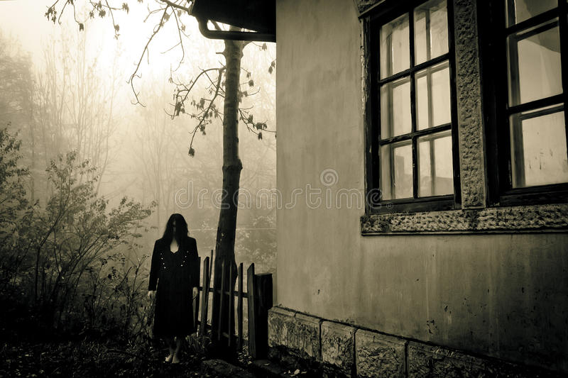 Horror scary woman. Horror scene of a scary woman royalty free stock images