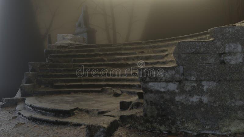 Horror scena schodowe i stare rzeźby, oczekiwanie, mgła, tajemnica przy zaniechanym miejscem ilustracja 3 d ilustracja wektor