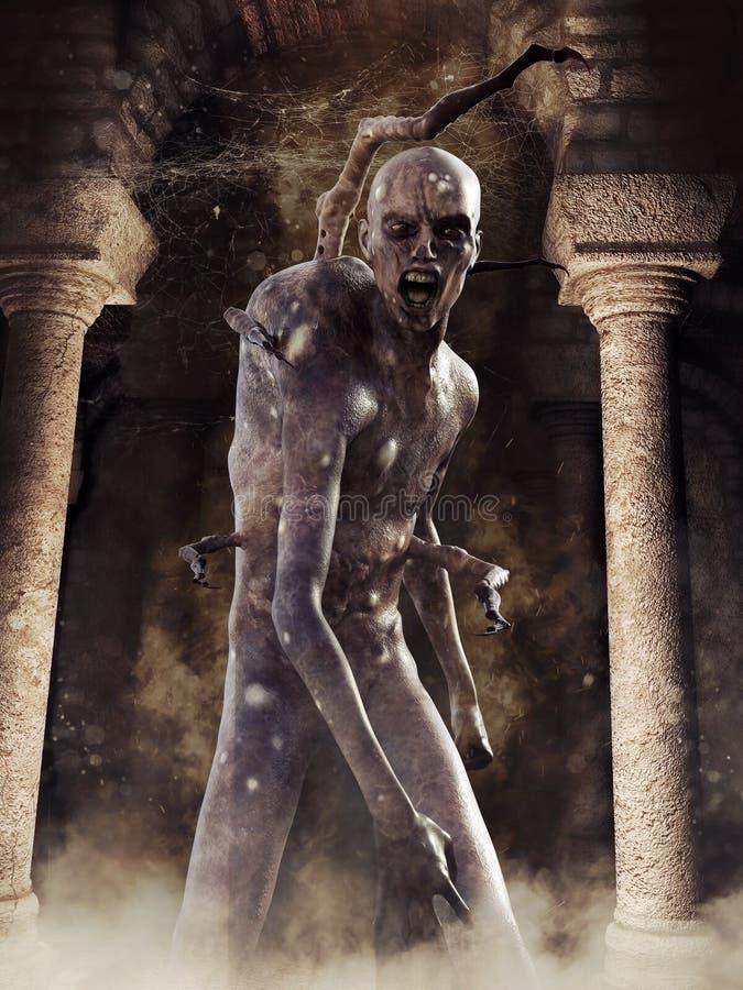Creepy monster in a dark crypt. Horror scene with a creepy monster standing in a dark crypt with cobwebs vector illustration