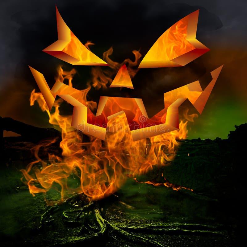 Halloween Jack O Lantern Face Fire Background Greeting