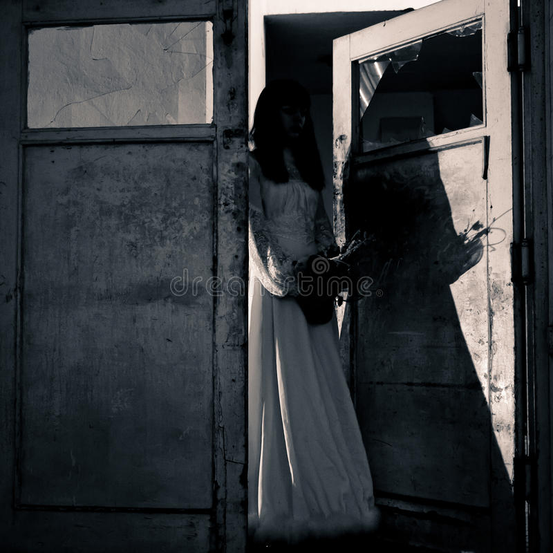 Horror Scene Of A Scary Woman Stock Images