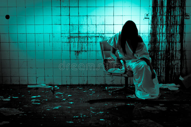 Horror Scene of a Scary Woman. Can be used for desktop wallpaper royalty free stock photos