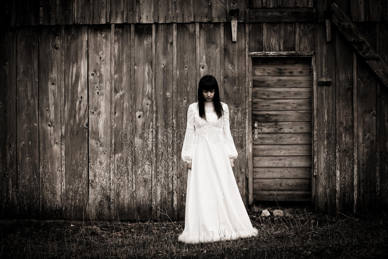 Horror scene of a scary woman. The Horror scene of a scary woman royalty free stock images