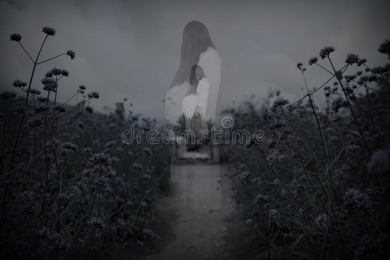 Horror scene of scary woman`s ghost royalty free stock photo