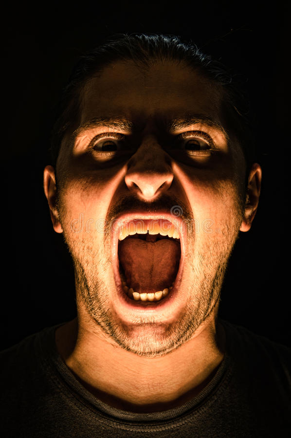 Horror scene with screaming scary human face - Halloween royalty free stock photos