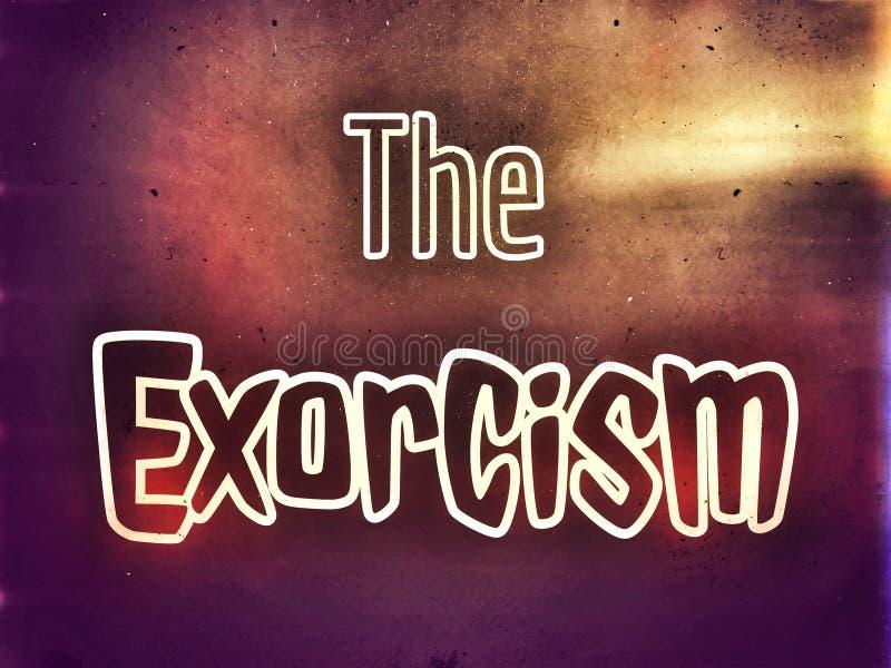 Horror tapeta o egzorcyzmu na ciemnym tle ilustracja wektor
