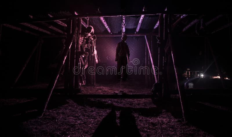 Horror view of hanged girl on tree at evening (at night) Suicide decoration. Death punishment executions or suicide abstract idea. stock photos