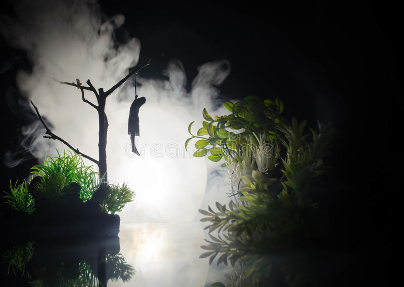 Horror View Of Hanged Girl On Tree At Evening (at Night ...