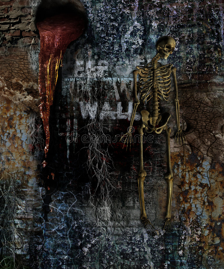 Horror Wall with Skeleton royalty free stock images
