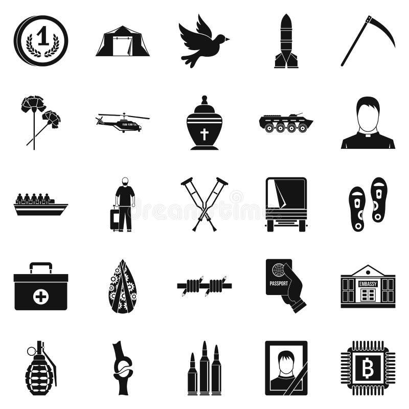 Horror wojenne ikony ustawia, prosty styl ilustracji